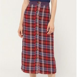 Urban Outfitters Plaid Midi Skirt
